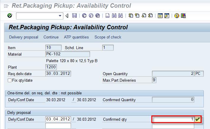 Sales Order in Returnable Packaging Pick Up