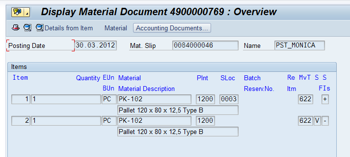 Material doc. created