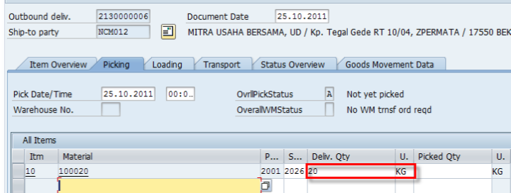 Delivered quantity  in Delivery Order
