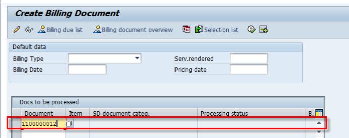 Screen create billing VF01