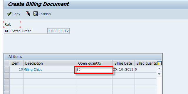 Billing quantity allowed