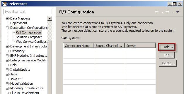 No response when press add button in screen R/3 Configuration