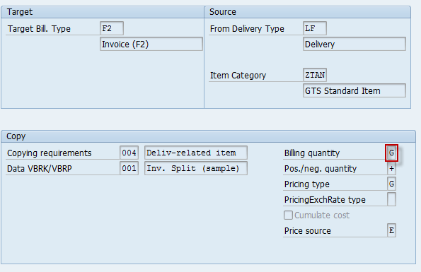 "Billing quantity/field FKMGK for ItCa ""ZTAN"" have to be set ""G"""