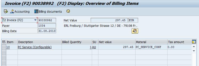 Amount appear in billing document billed on billing date 31.08.2013