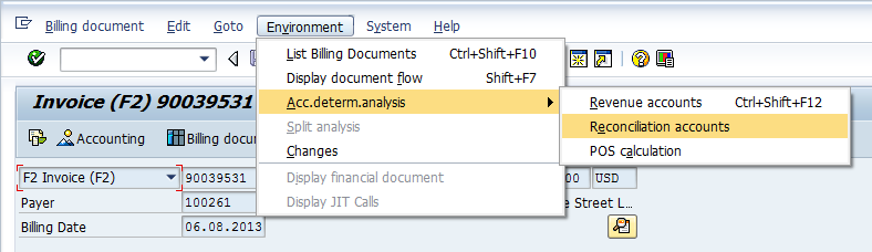 Check if alternative recon account worked in billing document